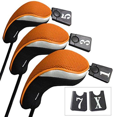 Andux Set Golf 460cc Holzkopfabdeckungen für Golfschläger mit langem Hals und austauschbarer Nummer, 3 Stück Anhänger, 3Stück., MT/mg06, schwarz/orange