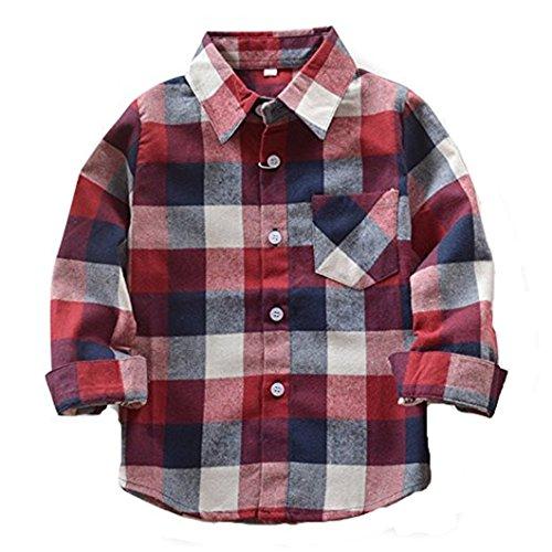 HAOKTY Jungen Mädchen Langarm Hemden Plaid Kariert Freizeithemd Tops Baumwolle Sweat Shirt (Color 6, 140)