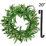 Spring Wreath for Front Door - 20In Olive Summer Wreath Artificial Green Door Wreaths with 15Inch Black Wreath Hanger Indoor Natural Vine Wreath Home Decor for Window, Outdoor, Wedding