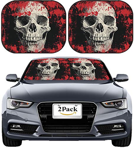 MSD Car Sun Shade Windshield Sunshade Universal Fit 2 Pack, Block Sun Glare, UV and Heat, Protect Car Interior, Image ID: 14881049 Skull on The Abstract Background