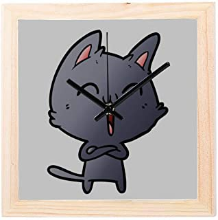 Lajro School Office Clock Cat Singing Music Singer Meowing Non-Ticking Square Silent Wooden Diamond Display Wall Clocks Painting Dial Kitchen Bedroom Decor Small Wall Decor Clock