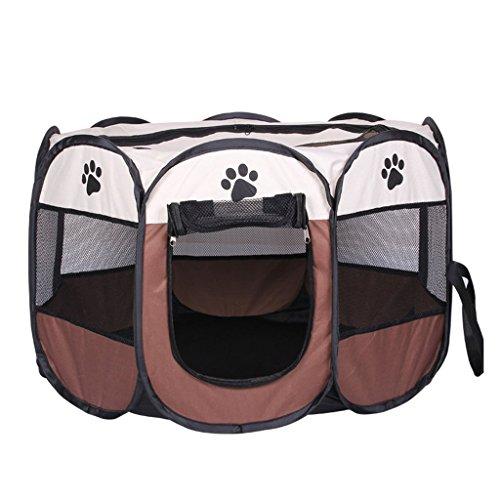 Austrake 八角形 ペット用サークル 犬 猫 ケージ アウトドア 折りたたみ メッシュサークル