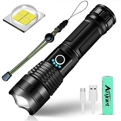 SunTop Linterna LED, Linterna de Mano Bolígrafo, P50 LED Recargable 2000Lumen Con 5 Modos de Brillo Ajustables, Zoom / IPX6 Impermeable/ 4200mAh 18650 Batería Recargable