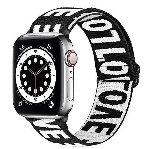Runostrich Elastic Watch Armband Kompatibel mit Apple Watch 40mm 38mm, dehnbares verstellbares Nylon-Sportschlaufen-Ersatzband für iwatch Serie 6 SE 5 4 3 2 1