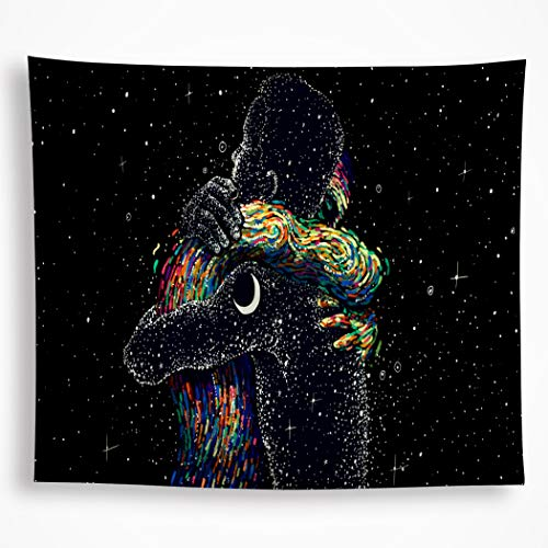 All Smiles Black Love Tapestry Wall Hanging Galaxy Constellation Hippie Bohemian Star Moon Wall