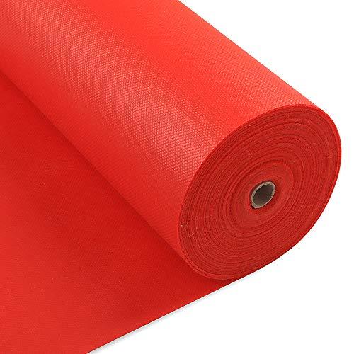 LONGING HOME Tischdeckenrolle, 1.2 × 25M, Rot, Einweg Vlies Stoffähnlich Tischdecke Rolle, Meterware Tischtuchrolle, Geeignet Für Geburtstag, Party, Deko