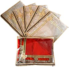 Prem Industries Non Woven Saree Packing Cover Bag with Zip Lock (Golden) - Set of 6-Pieces