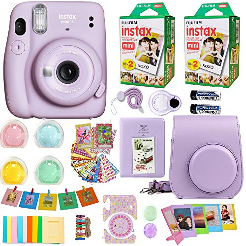 Fujifilm Instax Mini 11 Camera Lilac Purple 16654803 + Fuji Instant Instax Film (40 Sheets) Includes Carrying Case + Assorted Frames + Photo Album + 4 Color Filters and More Top Accessories Bundle