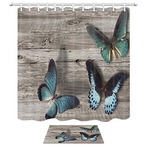 Aliyz Schmetterlinge Grunge Holz Duschvorhang Königsblau Vintage Schmetterling rustikalen Holzbrett Polyester Duschvorhang Set 15.7x23.6in Flanell rutschfeste Boden Fußmatte Bad Teppiche 71X71in