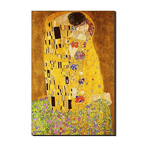 Five-Seller Il Bacio di Gustav Klimt Quadri Dipinti Famosi Riproduzioni Artistiche Stampate su Tela Opere d'Arte di Parete per Decorazioni per La Casa (50_x_70_cm)