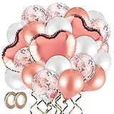 MELLIEX Conjunto de Globos de Helio, 48 Piezas Globos Contiene Globo de Confeti, Globos de Latex, Globos de Aluminio con Cuerdas de Rollos para Cumpleaños Boda Baby Shower