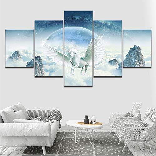 Ssiyun Stampa Pittura su TelaStampa Pittura su TelaTela Poster Modulari HD Stampa Decor Parete 5 Animal White Horse And Wingsland Scenario Pittura Quadri Art Frame-40CMx60/80/100CM