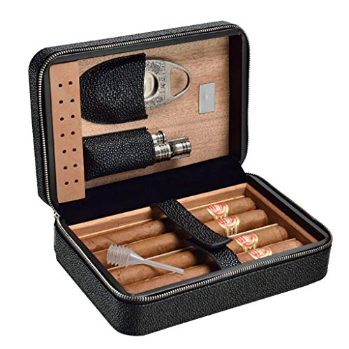 Rangements Humidors À Cigares Boîte À Cigares De Voyage Cave À Cigares Portative Boîte À Cigares En Cèdre Peut Accueillir Quatre Cigares Meilleur Cadeau (Color : Black, Size : 7 * 13 * 20.5cm)