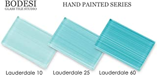 Lauderdale Teal Sample Pack, Hand Painted Glass for Tile Kitchens and Bathrooms