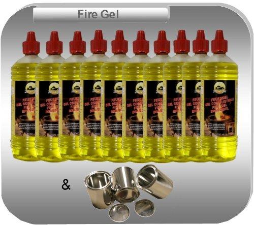 Gelkamine Ethanolkamine + Zubehör 10 Liter Hochleistungs Brenngel und 3 Brennstoffdosen 0,25 Liter