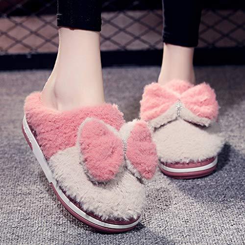 DYXYH Zapatillas de Felpa Cortas para Mujer, Zapatos de Invierno cálidos con Orejas de Animales para Mujer, Zapatillas Planas Suaves para Interior para Mujer, Bonitas Zapatillas peludas para Mujer