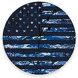 [オピニオン]芸術的アイディアの米国国旗、米国建国記念日の印刷 PVC時計 目盛り付き 時計 寝室 居間 装飾 ファッション壁時計