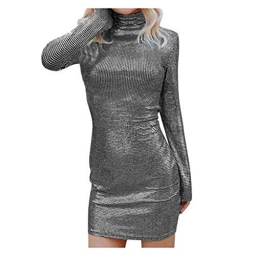 Floweworld Damen Langarm Mini Kleider Mode Rollkragen Selbstkultivierung Pailletten Nachtclub Kleider Elegante Party Kleider Slim Fit Abendkleider