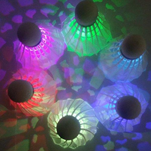 Cowboycool/Volano Badminton con illuminazione a LED per interni ed esterni, con zip, per sport, colore: verde/rosso/blu/colori e Mix, 4/8/12)