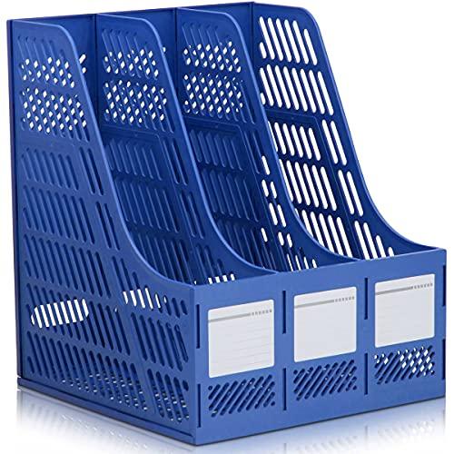 raeadlife portariviste riviste classico Office ufficio, DIN A4, 3scomparti, contenitore portariviste in plastica blu