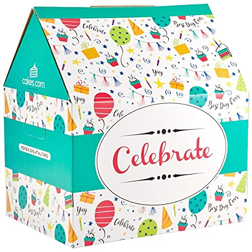Oasis Supply, Reusable Party Cake Holder || Decorated Bakery Transportation Box || Cake Carrier - Holds Quarter Sheet Cakes, 2 Pack