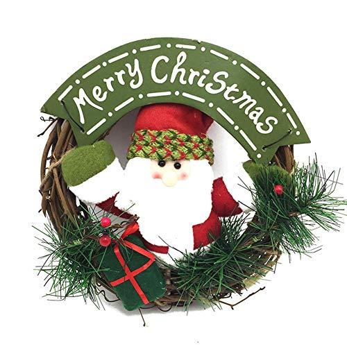 Cxssxling Navidad Viejo Hombre Ratán Muñeco de Nieve Corona Adornos Colgando Accesorios Anillo de Puerta Decoración Decoración Pared Jardín Boda Chimeneas Festival Decoración