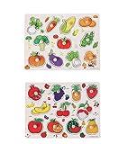 TOYMYTOY - Puzzle de madera, juguete educativo para niños - Puzzle de madera - Regalo para frutas y verduras - 2 unidades