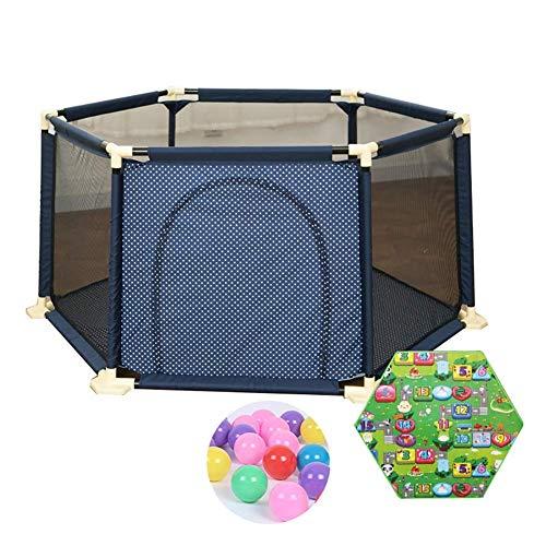 QULONG Corralito Extra Grande con colchón para bebé de 200 Bolas con Puerta con Cremallera Valla Hexagonal anticolisión Regalos para el día de la Madre para mamá y bebé