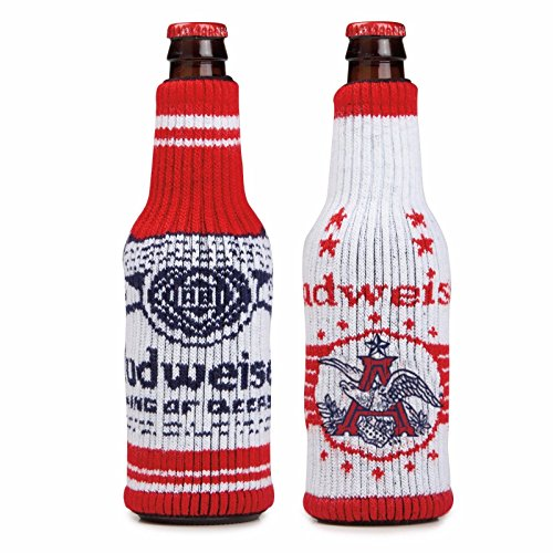Budweiser Holiday Sweater Bottle Cooler Red and White - Pack of 2