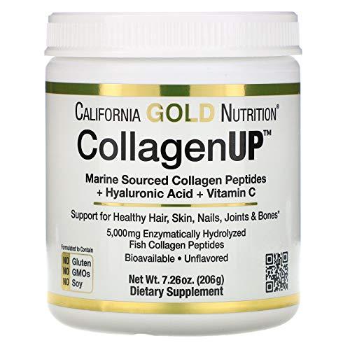 California Gold Nutrition: Collagen UP 5000 (5.000 mg): Collagen Peptide aus mariner Quelle + Hyaluronsäure + Vitamin C - Default