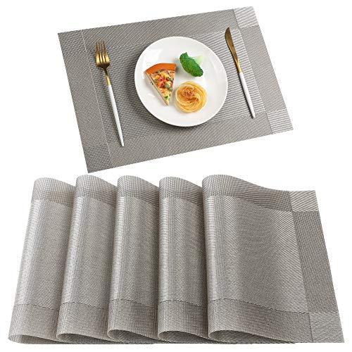 Famibay Platzsets Vinyl PVC Tischsets für Küche Grau 6er Hitzebeständig Abwaschbar rutschfest Stoff Platzdeckchen Vintage Platzdeckchen
