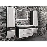 badmöbelset Juego de muebles de baño de alto brillo, color blanco/antracita, con 2 armarios altos modernos con espejo LED y espacio de lavado de 80 cm