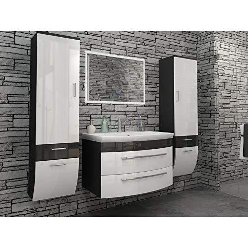 badmöbelset Badezimmermöbel Set Hochglanz weiß/Anthrazit mit 2 x Hochschrank modernen LED-Licht-Spiegel und 80er Waschplatz