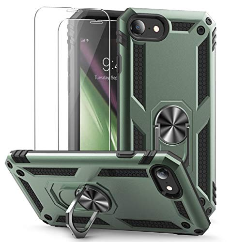 Vooii iPhone SE 2020 Case, Stand Case for iPhone 8/7, [2 Pack Tempered Glass Screen Protector], Military-Grade Shockproof Phone Case with Car Mount Kickstand for iPhone 7/8/SE - Pine Green