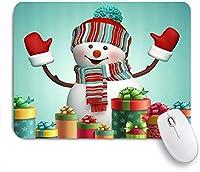 NIESIKKLAマウスパッド クリスマスギフトボックスと幸せなかわいい雪だるま ゲーミング オフィス最適 高級感 おしゃれ 防水 耐久性が良い 滑り止めゴム底 ゲーミングなど適用 用ノートブックコンピュータマウスマット