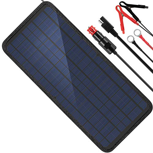 MOOLSUN 12 Volt 12v Solar Battery Charger, 10W Solar Car Battery Charger, Solar Trickle Charger, Solar Panel Battery Maintainer, Power Kit Portable Backup for Automotive, Motorcycle, Boat, Marine, RV Car Battery Charger Set