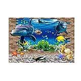 SALUTUYA Cartel Hermoso del Acuario de Alta definición de la Etiqueta engomada del PVC para la decoración del Tanque de Pescados Grande(122 * 61)