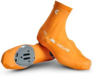 GQMNL Cycling Shoe Cover Mens/Womens Bike Overshoes Road Bicycle Cycling Lock Shoe Covers Light Weight Easy Dry Dust-Proof Ultralight Water-Resistant Windproof (Color : Yellow, Size : L)