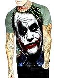 Camiseta de Hombre Joker - Caballero Oscuro - 3D - Manga Corta - Divertido - Camisa - Camiseta - niño - Disfraz - Halloween - Multicolor - Talla XXL Joker Dark Knight