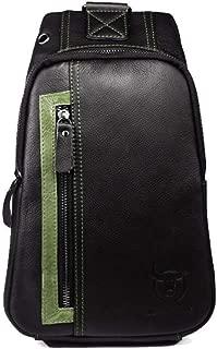 Shoulder Handbag Men's Leather Chest Bag Shoulder Crossbody Bag Casual Color First Layer Leather for Student Youth Backpack Shoulder Messenger Bag Casual Crossbody Bag (Color : Bronze, Size : M)