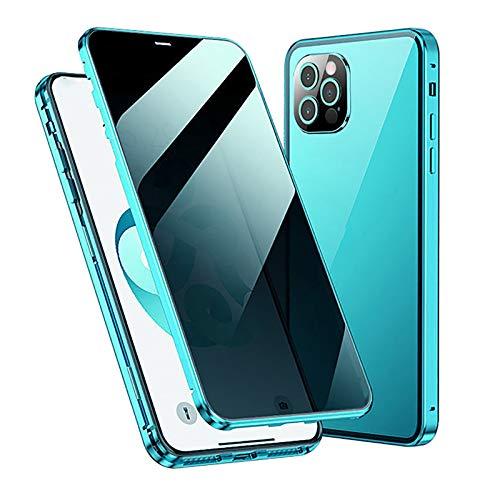 WYZDQ Funda Magnética De Privacidad para iPhone 12/12 Pro/12 Mini/12 Pro MAX, Cubierta Anti-Mirón Pantalla Completa De Vidrio Templado Frontal Y Posterior Funda Anti-Espía,Verde,for iPhone12 Mini