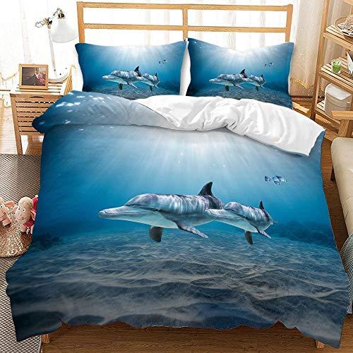 ZYNYHGS Juego de Ropa de Cama Marine Life 3D, tiburón Cama Individual Cama Doble niños Adultos Funda nórdica Suave y cómoda y Funda de Almohada Ropa de Cama Textiles para el hogar-C_260X230cm (3pcs)