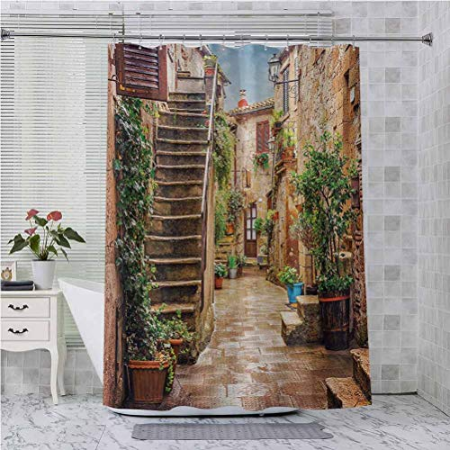 Aishare Store - Cortina de ducha de tela, diseño de la antigua calle mediterránea con piedra roca casas, impresión rural, 72 x 183 cm, color multicolor