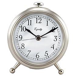 Equity by La Crosse 25655 Small Metal Alarm Clock, Silver