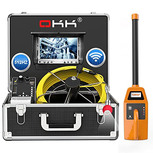 165ft Sewer Camera with Locator,512Hz Pipeline Inspection Camera with DVR Recorder and 7' LCD Monitor Industrial Drain Plumbing Borescope Endoscope Camera(8GB SD Card Included)