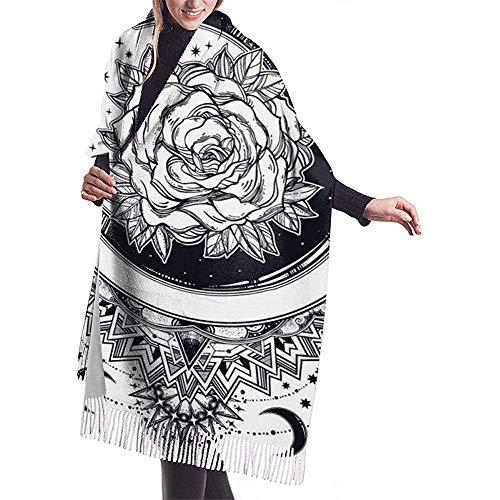 Cathycathy decoratief versierde wijnoogst-ronde lijst met doorzichtige maan en roze blanket scarf warme wrap shawl cape