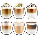 Glastal 250ml*6 Tazas de Café de Cristal, Vasos de Doble Pared Transparente, Tazas de Vidrio Borosilicato para Café Leche Té Latte Macchiato y Más