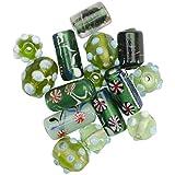 Mode International quadratisch Tube Glasperlen-Mix,-/Bratenspritze, grün 'Lampwork Glasperlen Mix