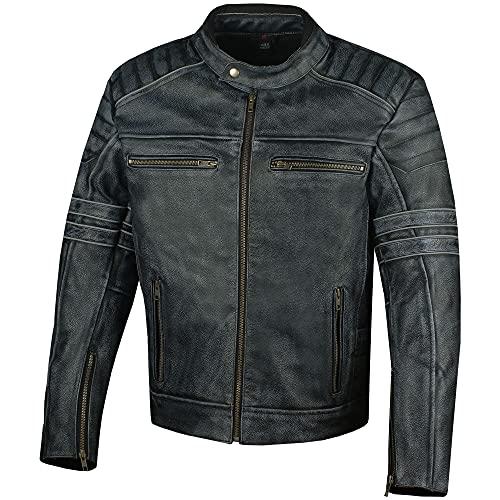 Men's SHADOW Motorcycle Distressed Cowhide Leather Armor Black Jacket Biker L
