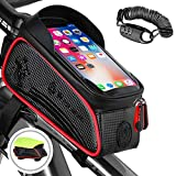 Bicycle Frame Bag, Head Tube Bag Cycling Pouch For Bike, Bike Handbar Bag, Touchscreen For Mobile Phones Frame Pannier Pack, Large Capacity, Waterproof, Storage Bag For Phone Within 6.5 Inches